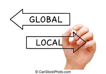 global, local, conceito, setas, ou