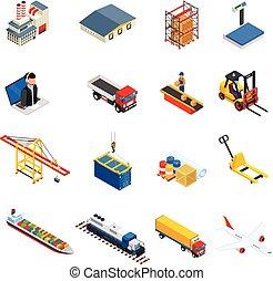 global, logística, isométrico, iconos, conjunto, de, diferente, transporte, distribución, vehículos, y, entrega, elementos, aislado, vector, illustration., logístico, y, entrega, icono, conjunto, aislado, blanco