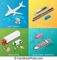global, logística, network., plano, 3d, isométrico, vector, illustration., conjunto, de, carga aérea, transporte por carretera, carril, transporte, marítimo, shipping., on-time, entrega, vehículos, diseñado, para llevar, grande, números, cargo.