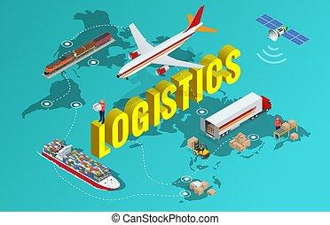 global, logística, red, plano, 3d, isométrico, vector, ilustración, conjunto, de, carga aérea, transporte por carretera, carril, transporte, marítimo, envío, on-time, entrega, vehículos, diseñado, para llevar, grande, números, de, china, carga