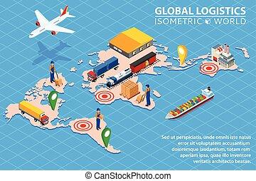 global, logística, red, plano, 3d, isométrico, vector, ilustración, conjunto, de, carga aérea, transporte por carretera, carril, transporte, marítimo, shipping.