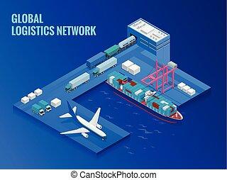 global, logística, red, plano, isométrico, vector, illustration., concepto, de, carga aérea, transporte por carretera, carril, transporte, marítimo, envío, on-time, entrega, vehículos, diseñado, para llevar, grande, números
