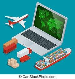 global, logística, red, sitio web, concepto, plano, 3d, isométrico, vector, illustration., on-time, entrega, vehículos, diseñado, para llevar, grande, números, cargo.
