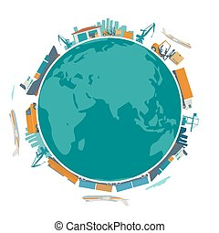 Global logistic, shipping and worldwide delivery business concept - production process from factory to the shop.  Earth planet globe surrounded plane, train, ship, warehouse. Flat vector illustration.