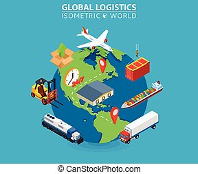 Global Logistics cargo delivery flat 3d isometric pixel art modern design concept vector worldwide shipment boat crate container loader barge van package