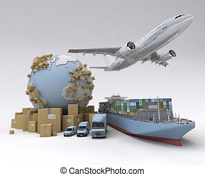 Global logistics - Cargo transportation image with the...