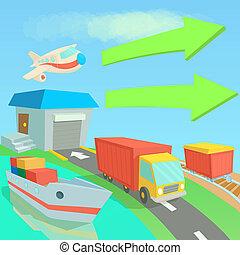 Global logistics network concept, cartoon style