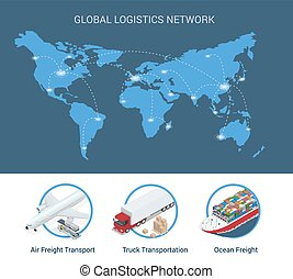 Global logistics network Flat 3d isometric vector illustration Set of air cargo trucking rail transportation maritime shipping On-time delivery Vehicles designed to carry large numbers