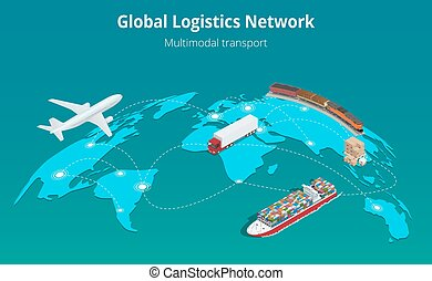Global logistics network Web site concept Flat 3d isometric...