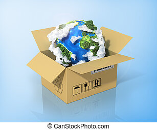 Global logistics, shipping and worldwide delivery business concept. Green planet Earth in the cardboard box. Ecology concept.