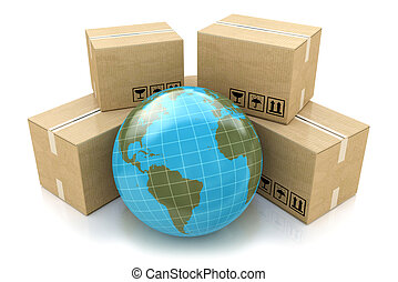 Global logistics, shipping and worldwide delivery business concept: Earth planet globe surrounded by heap of stacked corrugated cardboard boxes with parcel goods isolated on white background