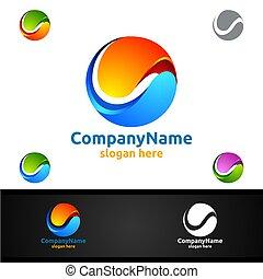 Global Logo for Modern Technology World Sphere Concept Design