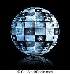 global, média, technologie, mondiale, sphère