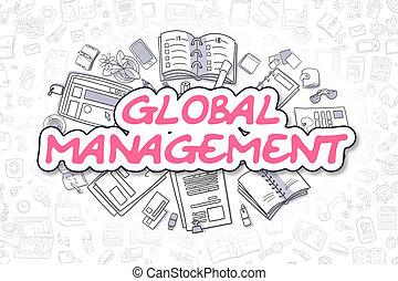 Global Management - Cartoon Magenta Text. Business Concept.