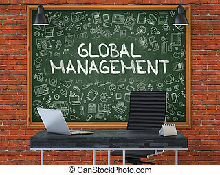 Global Management - Hand Drawn on Green Chalkboard.