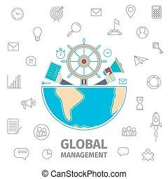 Global Management line art