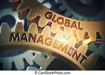 Global Management on the Golden Gears. 3D Illustration.