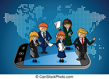 Smart phone world map business application people teamwork cartoon. Vector file layered for easy personalization.