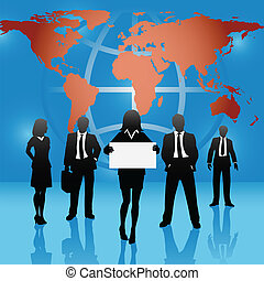 Global map world business people team hold sign - Woman on a...