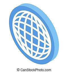 Global market icon, isometric style