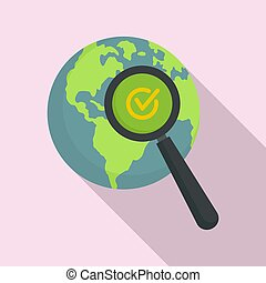 Global market search icon, flat style
