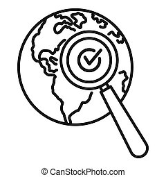 Global market search icon, outline style