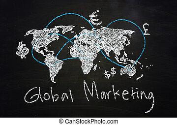 Global Marketing Concept drawn with Chalk on Blackboard