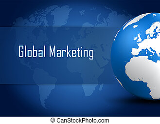 Global marketing concept with globe on blue world map...