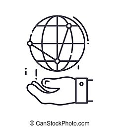 Global marketing icon, linear isolated illustration, thin line vector, web design sign, outline concept symbol with editable stroke on white background.