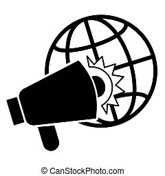 Global megaphone icon, simple style