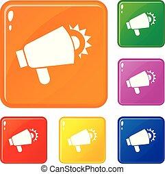 Global megaphone icons set vector color