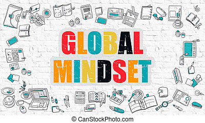 Global Mindset in Multicolor. Doodle Design. - Global...