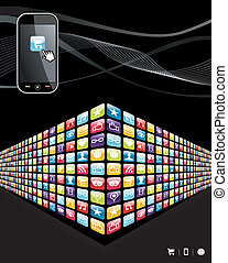 Global mobile phone apps icons wall