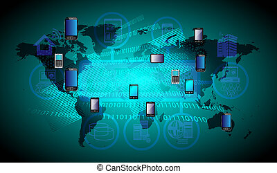 global, mobile, technologie, connexion