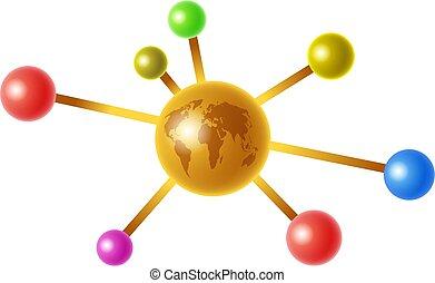 global molecule - a colourful molecule with a golden globe...
