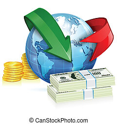 Global Money Transfer Concept with Coins, Banknotes, Arrows...