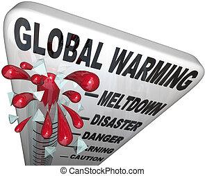 global, monter, températures, thermomètre, mondiale, ...