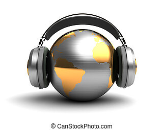 global music - 3d illustration of earth globe with...