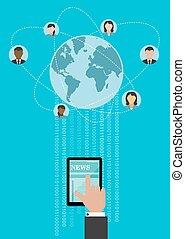global, nätverksarbetande, begrepp, design, skapande
