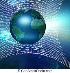 Global Net - Internet represented by web of binary
