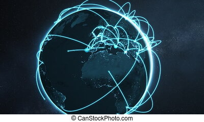 global network animation - blue night earth version