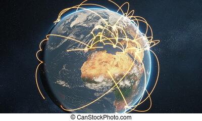 global network animation - orange day earth version