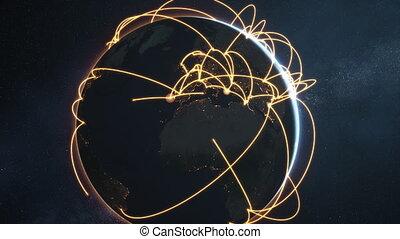 global network animation - orange night earth version