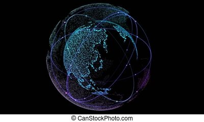 Global Network Connected. Digital technology connection of the Earth with orbiting satellites. Loop seamless. Global Network Connected