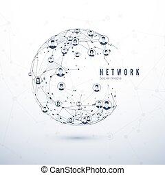 Global network connection. Social media. World Wide Web concept. Global business partnership. Vector Illustration