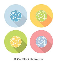 Global Network Flat Icons Set