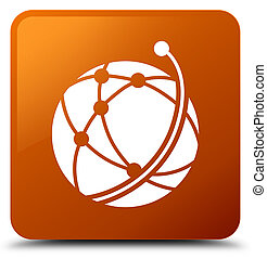 Global network icon brown square button