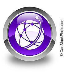 Global network icon glossy purple round button