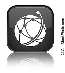 Global network icon special black square button