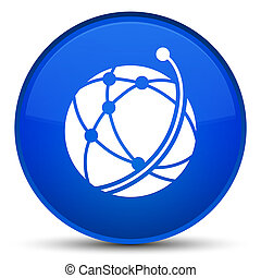 Global network icon special blue round button